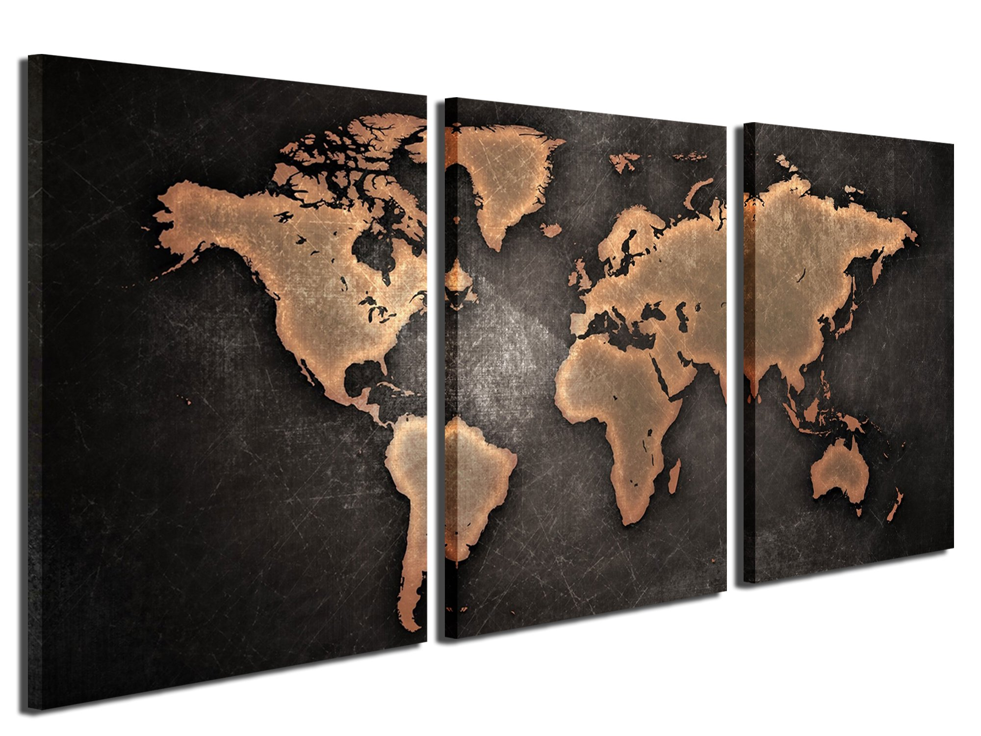 Gardenia Art - World Map Series 3 Canvas Prints Wall Art...