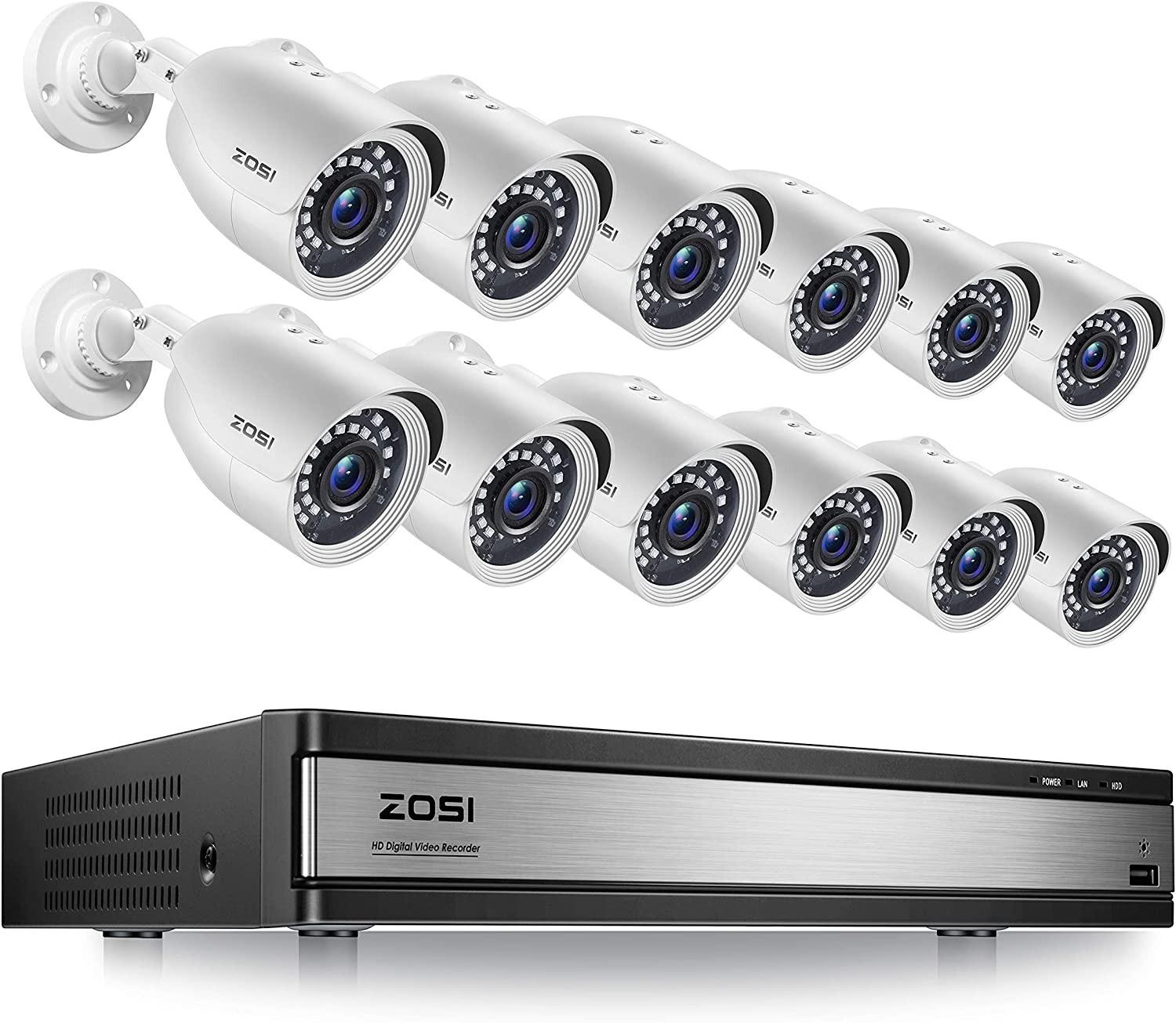 ZOSI H.265+ 1080p 16 Channel Security Camera System, 16 Channel DVR Recorder and 12 x 1080p Weatherproof Surveillance CCTV Bullet Camera Outdoor Indoor, 80ft Night Vision, 90° View Angle (No HDD)
