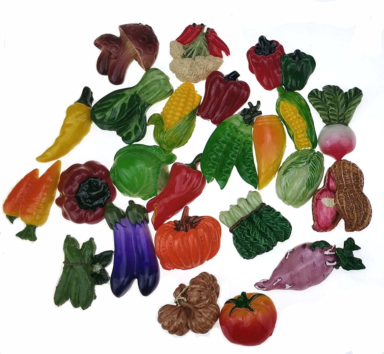 Miswee random 12Pcs creative 3D resin fruit vegetables fridge magnets funny cute decoration refrigerator magnet accessories office school whiteboard magnet (Random 12 style vegetables)