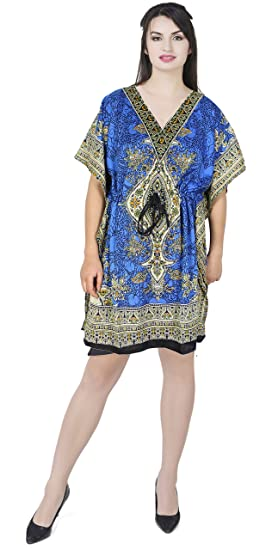 70b5af968d0 SKAVIJ Womens Kaftan Nightgown Tunic Kimono Style Dress Beach Cover Up Plus  Size Gift for Ladies