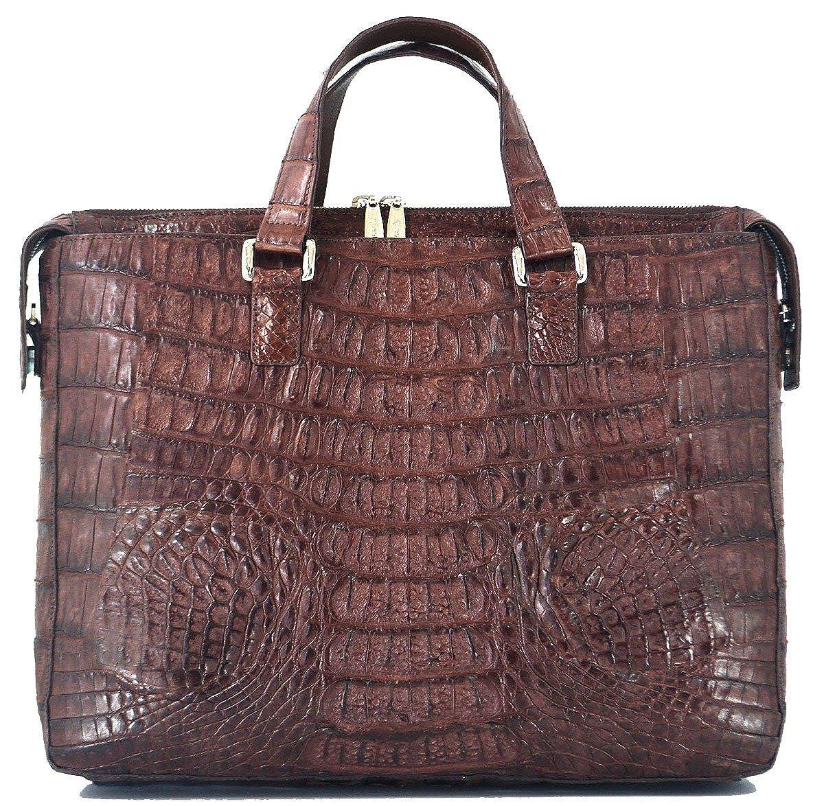 7d611a306887 Authentic River Crocodile Skin Mens Hornback W/Strap Laptop Bag Zip ...