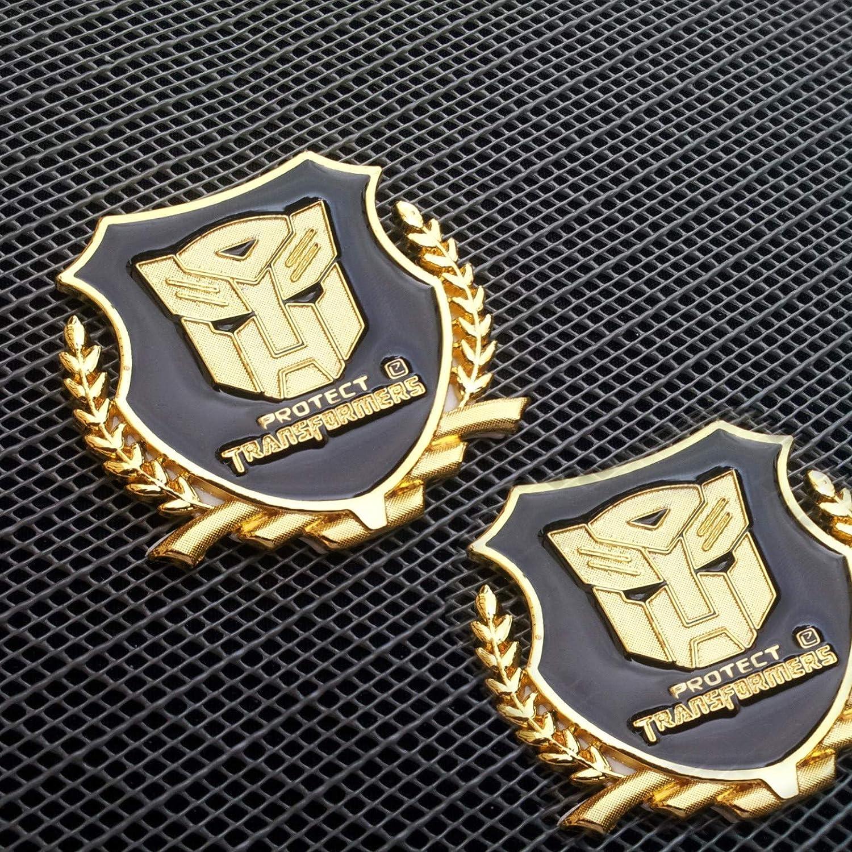 1338GD TOTUMY Protect Transformers Gold Chrome Metal Side Badge Emblemmark Trunk Aluminium Logo Auto Car Sticker Decal 2 Pieces