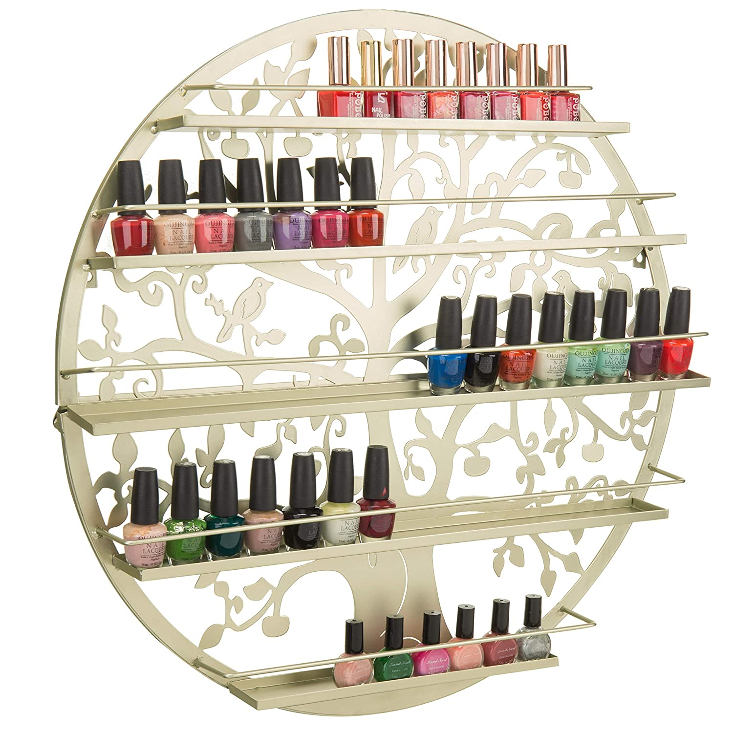 MyGift Wall-Mounted Brass-Tone Metal Tree Silhouette 5-Tier Nail Polish Rack Essential Oil Holder