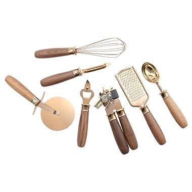 Cambridge Silversmiths Walnut Handle Copper Pvd 7 Piece Gadget Set