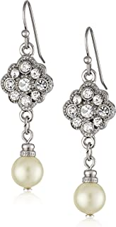 "product image for 1928 Jewelry ""Bridal Crystal"" Silver-Tone Crystal and Simulated Pearl Drop Earrings"