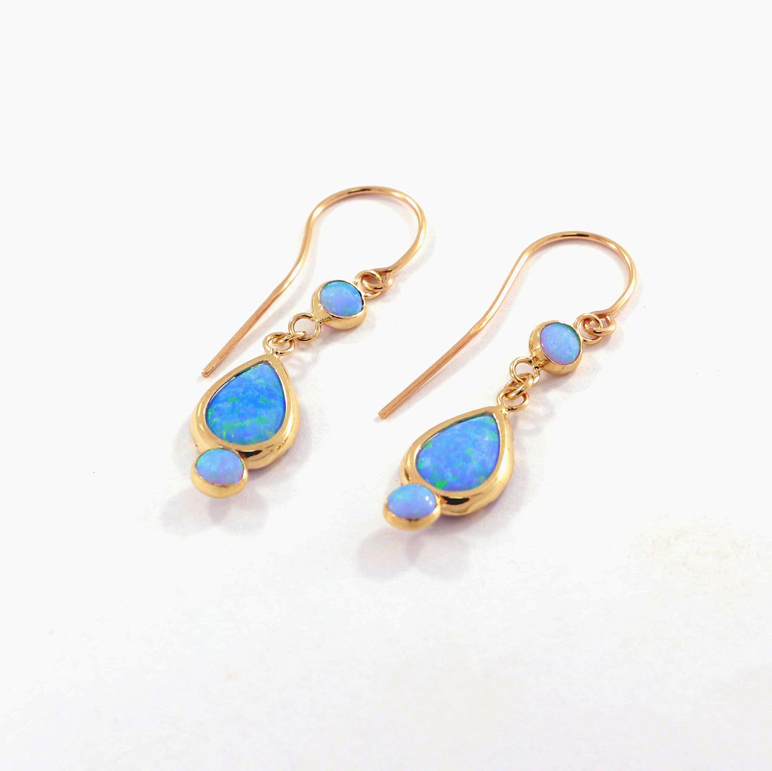 Blue Opal Earrings - 14k Gold Earrings - Gold Opal Earrings - Gold Drop Earrings