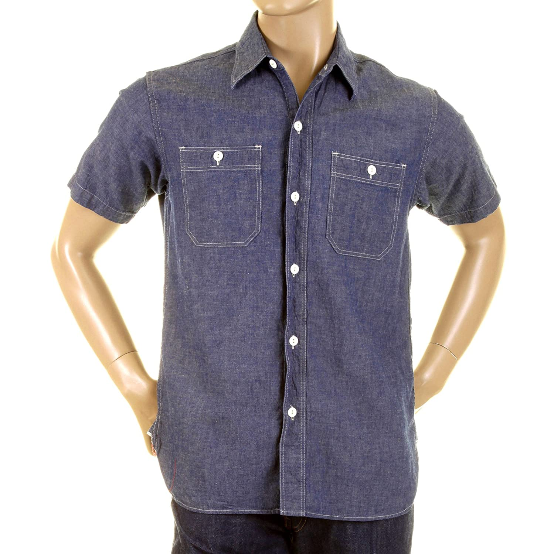 34fe479917e Amazon.com  Sugar Cane SC35454 Denim Blue Chambray Work Shirt CANE0245   Clothing