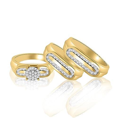 Oro amarillo de 18 K sobre plata de ley diamante acentos compromiso masculino y femenino Trio