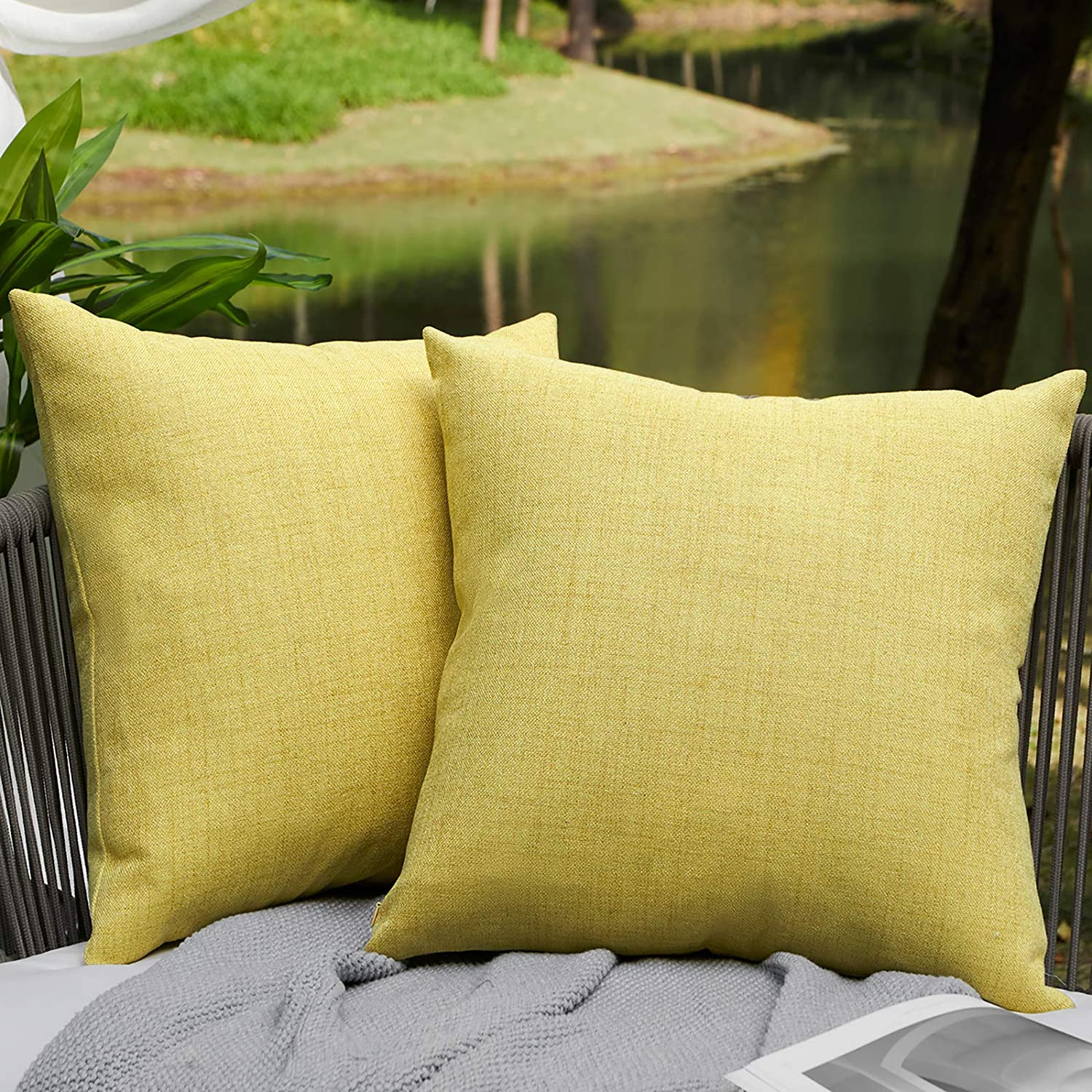 WAYIMPRESS Outdoor Fall Pillows Waterproof Pack of 2 Decorative Pillow Covers Square Garden Cushion Farmhouse Linen Throw Pillow Covers Shell for Patio Tent Couch(18 x 18,Yellow)