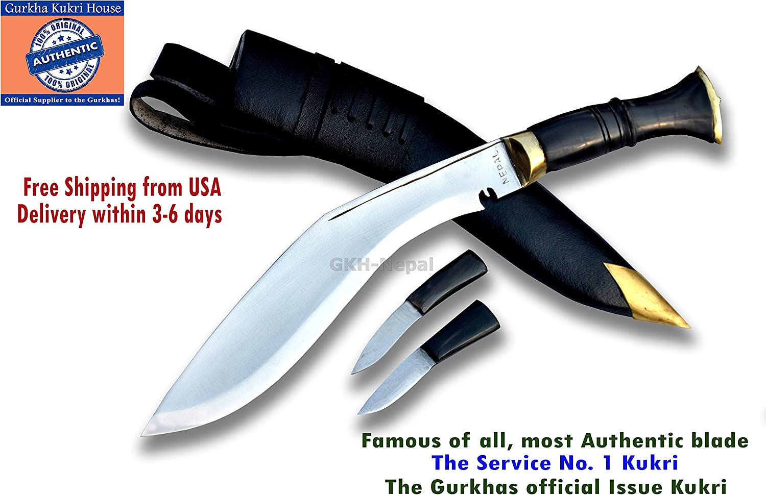 Gurkha Official Issued – Authentic Kukri Knife – 10 Blade Service No.1 Kukri Rat tail tang Highly polished blade with Black Leather Sheath-Handmade by Gurkha Kukri House in Nepal -Warehoused Ship from USA