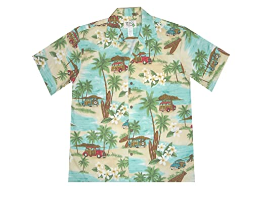 e7bd5b6f Amazon.com: KYS Men's Diamond Head Woody Car Palm Trees Aloha Shirt:  Clothing