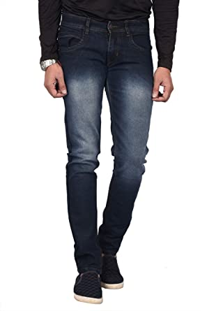 b5c573d82bd Waiverson Slim Fit Men s Dark Blue Shaded Jeans  Amazon.in  Clothing    Accessories