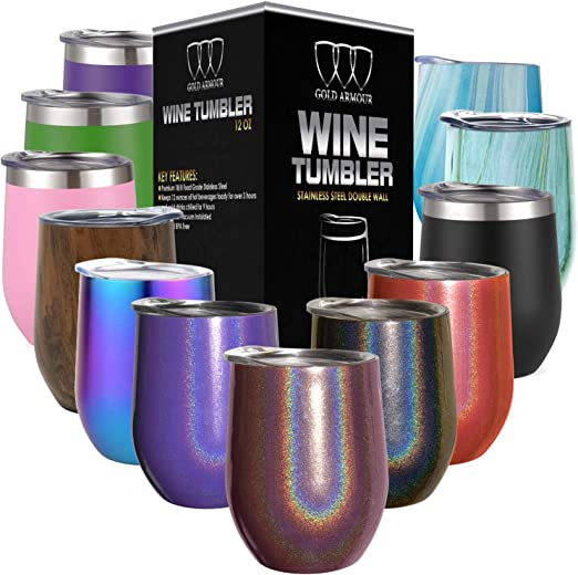 12oz Stainless Steel Stemless Wine Glass Tumbler with Lid Fancy Gift for Women Quick Call Wine One Stainless Steel Double Wall Vacuum Insulated