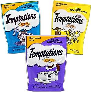 Temptations Cat Treats Variety Pack -- 3 Temptations Cat Snack Treat Bags | Temptations Cat Treats Chicken, Dairy, and Tuna (1.7oz)