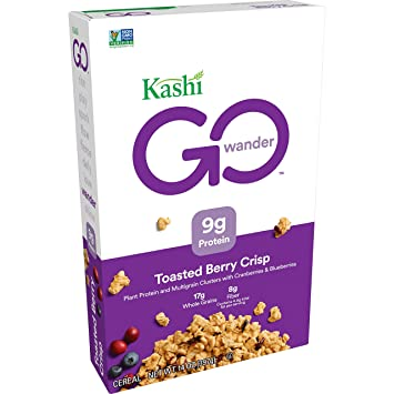 Kashi GO Toasted Berry Crisp Cereal – Vegan, Non-GMO Project Verified, 14 Oz Box