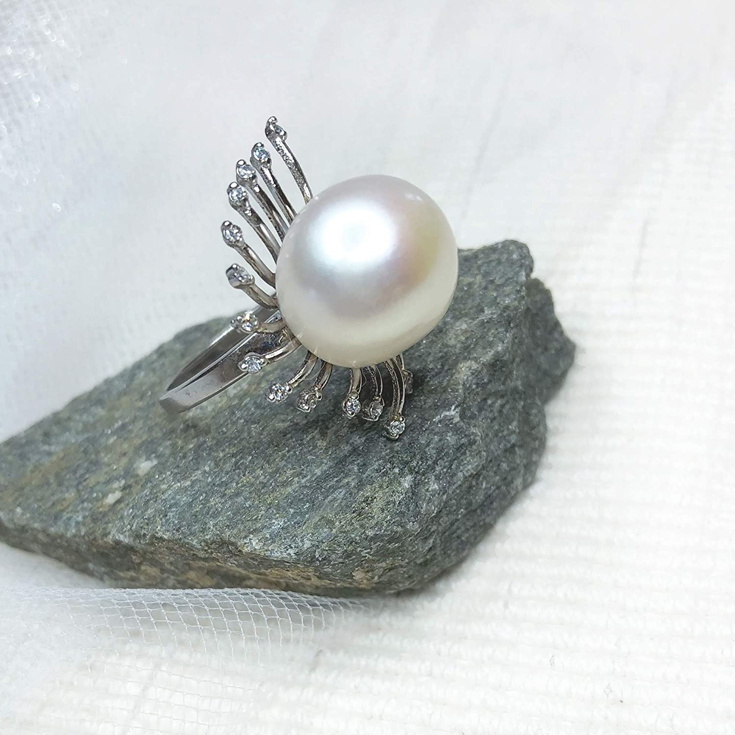 Silver Statement Ring Sterling Silver and Pearl Cocktail Ring
