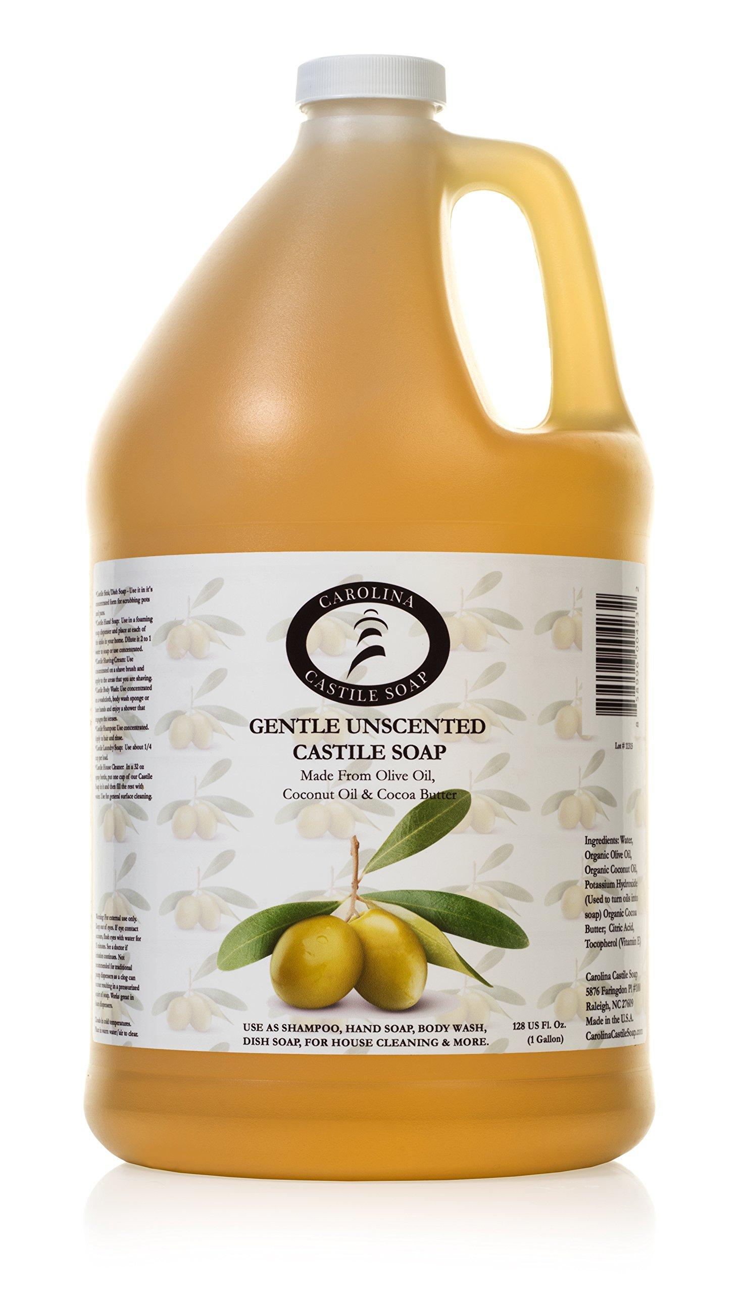 Castile Soap Liquid Unscented - 1 Gallon - Vegan & Pure Organic Soap - Carolina Castile Soap - Concentrated Non Drying All Natural Formula Good For Sensitive Skin by Carolina Castile Soap