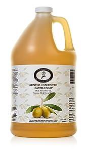 Castile Soap Liquid Unscented - 1 Gallon - Vegan & Pure Organic Soap - Carolina Castile Soap - Concentrated Non Drying All Natural Formula Good For Sensitive Skin
