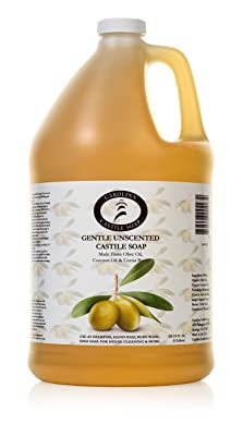 Carolina Castile Soap Liquid Unscented - Vegan & Pure Organic Soap - 1 Gallon - Concentrated Non Drying All Natural Formula Good For Sensitive Skin