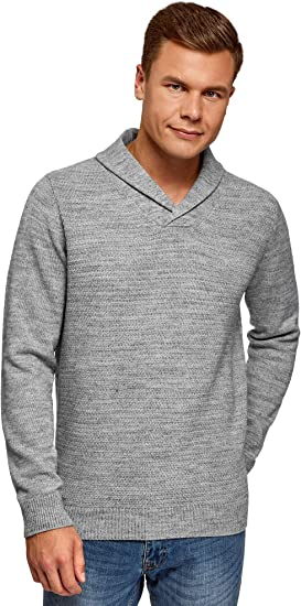 oodji Ultra Hombre Suéter de Punto Texturizado con Cuello Vuelto