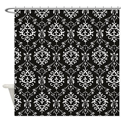 Image Unavailable Not Available For Color CafePress Black Cream Damask Shower Curtain