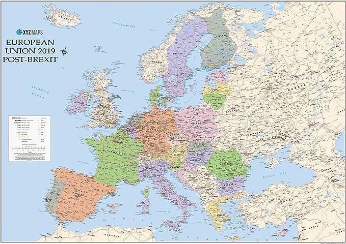 Cartina Unione Europea.Post Brexit Unione Europea Regno Unito Out Mappa Politica Del Muro Large 1 4 6 Milioni Rivestito In Plastica Amazon It Cancelleria E Prodotti Per Ufficio