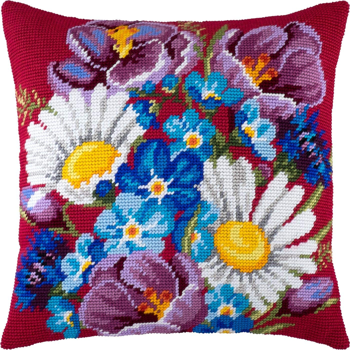 Classic Bouquet Cross Stitch Kit Throw Pillow 16/×16 Inches Printed Tapestry Canvas European Quality