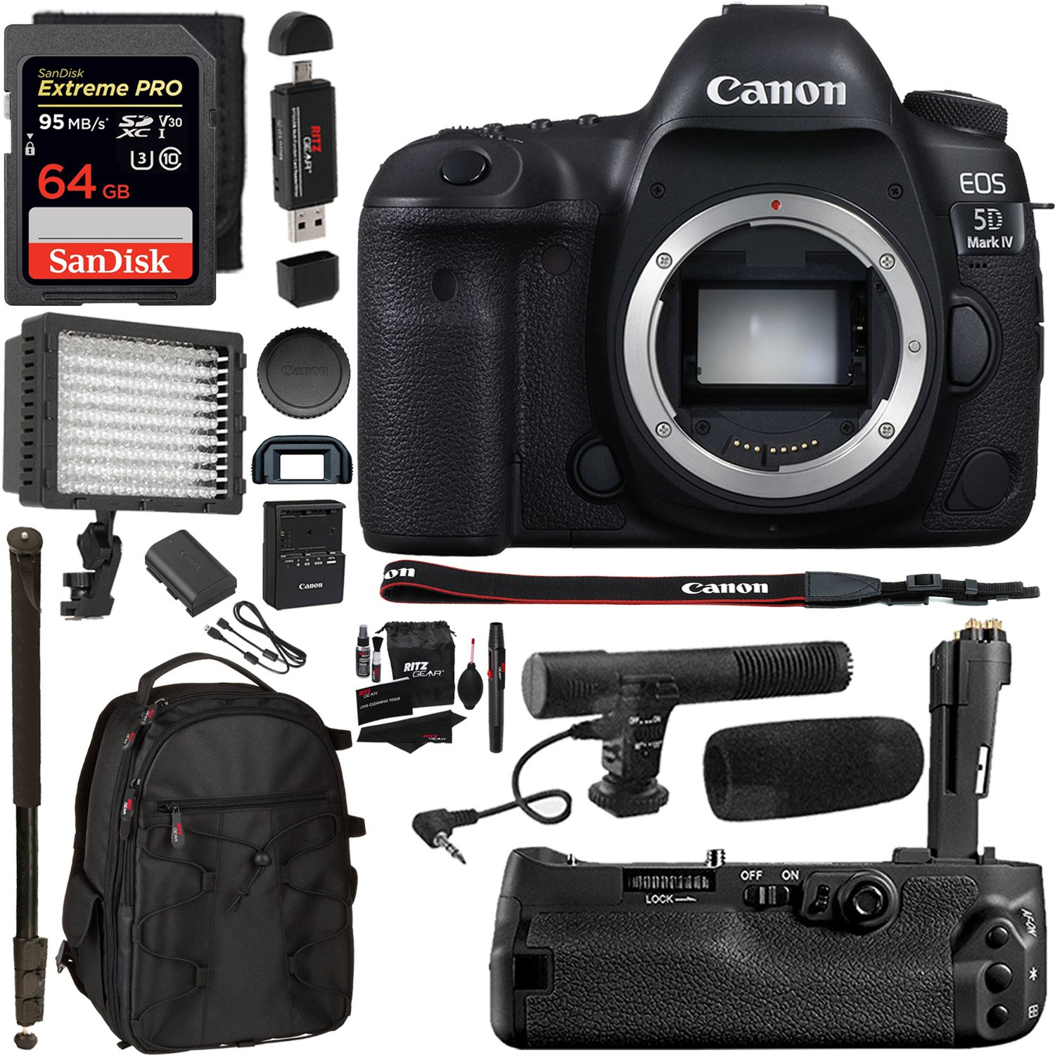 "Canon EOS 5D Mark IV DSLR Camera Body + 5D IV Camera Grip + 64GB Memory Card + Microphone + Polaroid 160 LED Video Light + 72"" Monopod + SLR Backpack Accessory Bundle by Ritz Camera"