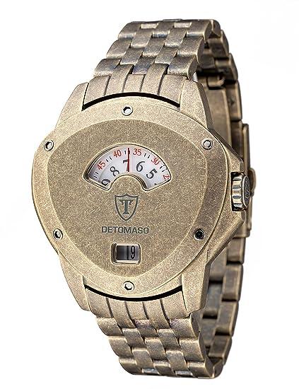 DeTomaso Compasso XXL Retro - Reloj de cuarzo para hombres, correa de acero inoxidable color dorado, esfera dorada: Amazon.es: Relojes