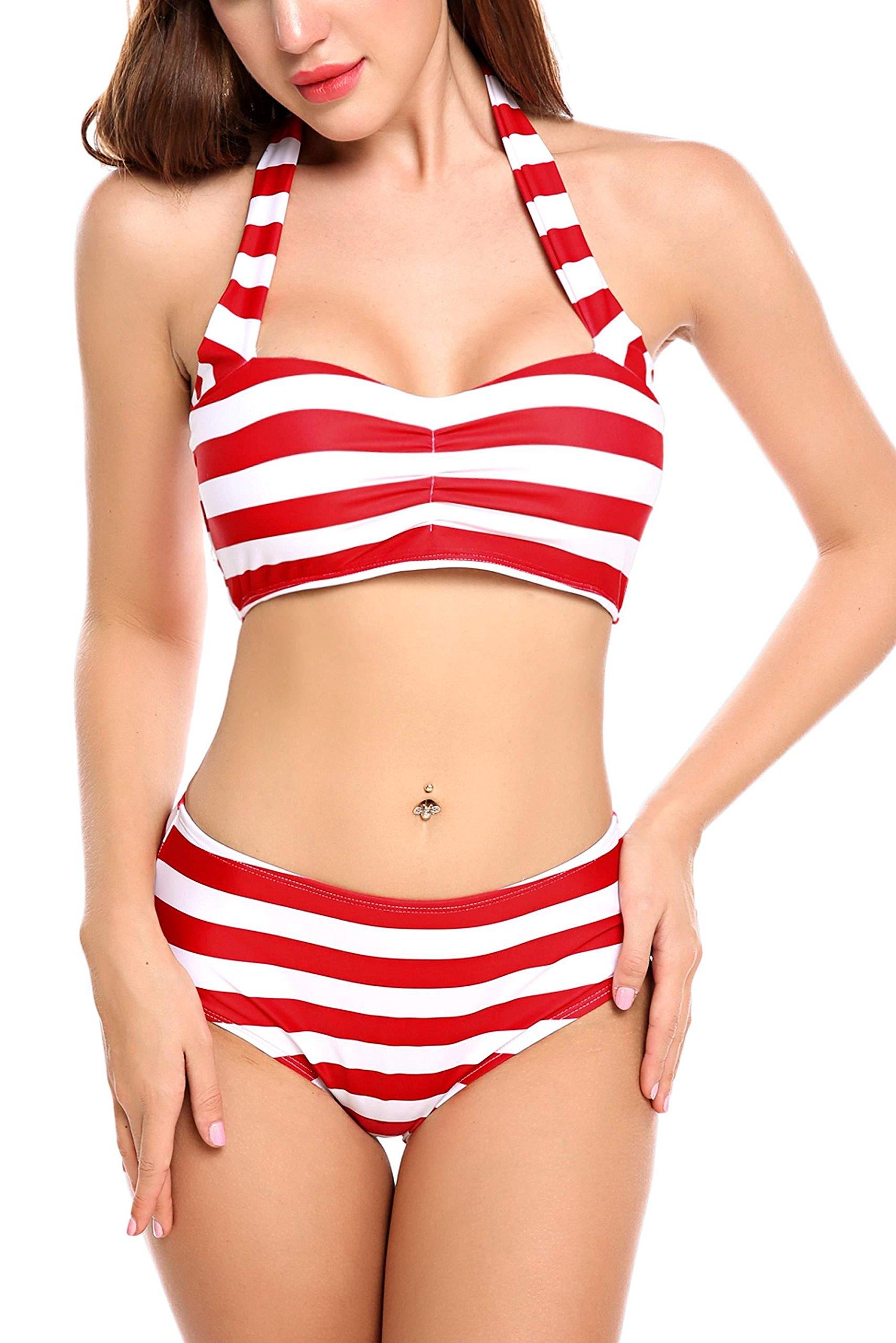 ADOME Women High Waisted Swimwear Push up Bikini Set Halter Underwired Swimsuits, Style 1-red, Medium