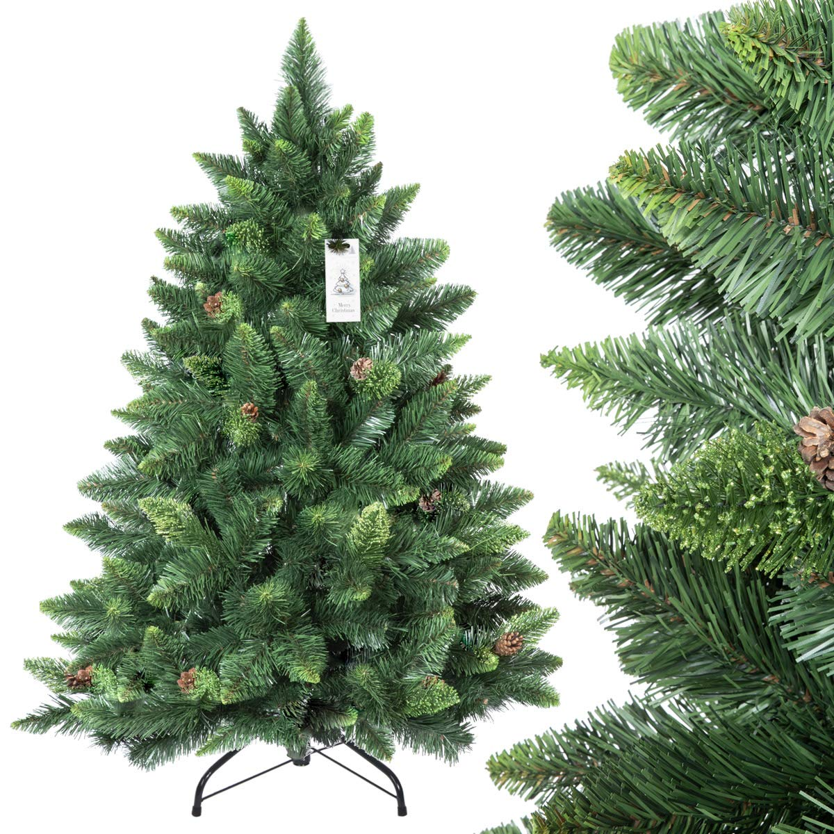 Natural Christmas Tree.Fairytrees Artificial Christmas Tree Pine Natural Green Pvc Material Real Cones Metal Stand 4ft 120cm Ft03 120