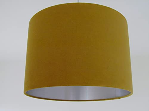 Mustard Yellow Velvet Fabric Drum Lampshade with Brushed Gold Ceiling Shade