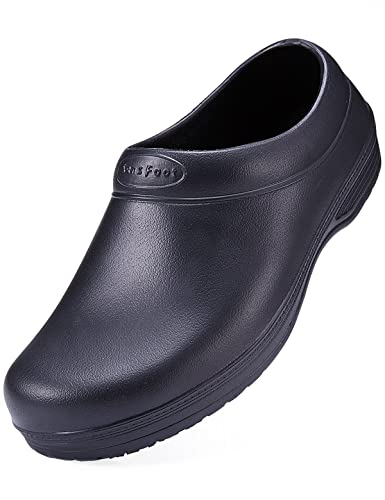 Lovely SensFoot Slip Resistant Chef Shoes Black Non Slip Kitchen Work Clogs For  Women (6 B