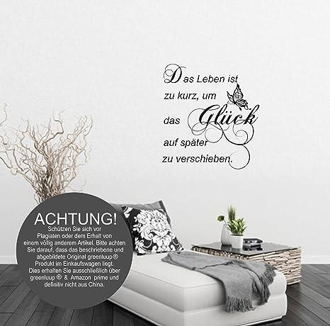 Greenluup Wandtattoo Gluck In Schwarz Okologischer Wandsticker Das Leben Ist Zu Kurz Amazon De Kuche Haushalt
