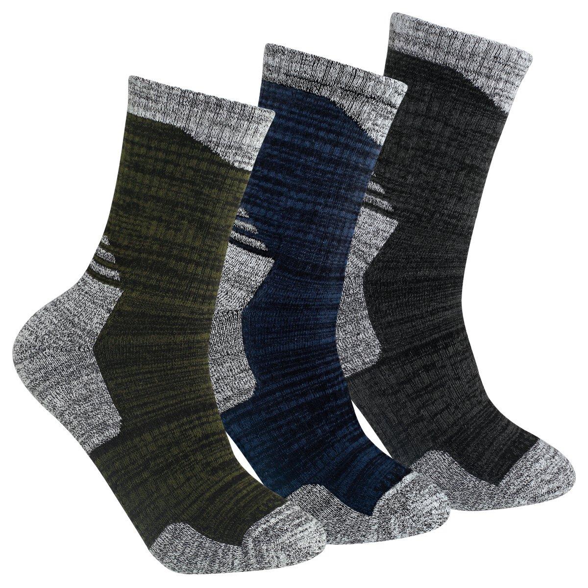 YUEDGE 3 Pairs Men's Cushion Crew Socks Outdoor Recreation Multi Performance Trekking Climbing Backpacking Hiking Socks