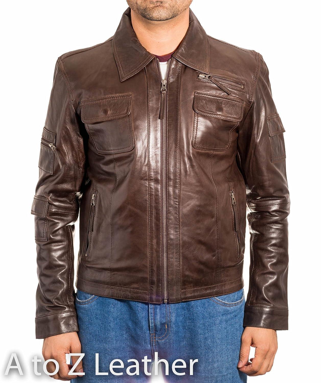 Mens Dark Brown Vintage Biker Shirt Collar With Zipped Fastening Leather Jacket