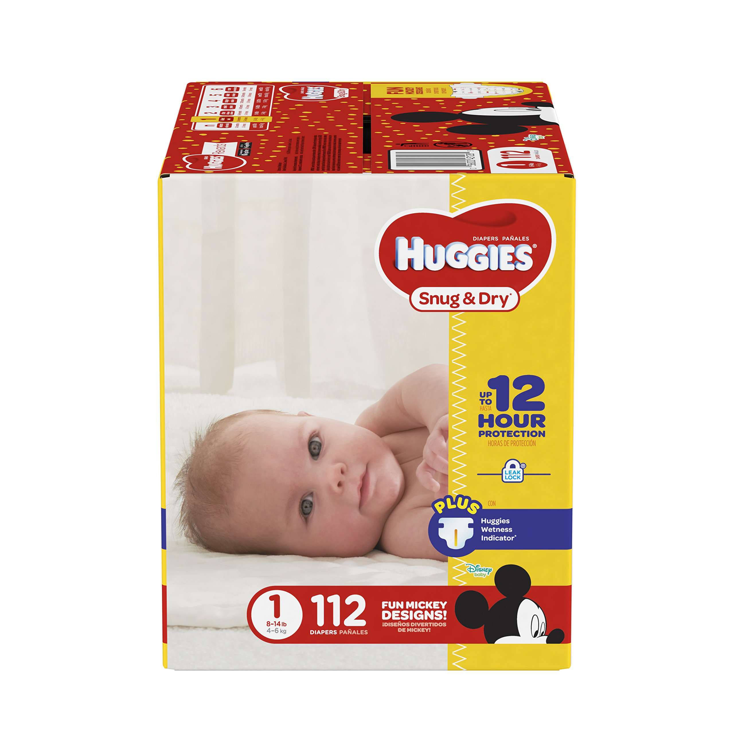 HUGGIES Snug & Dry Diapers, Size 1, 112 Count, BIG PACK (Packaging