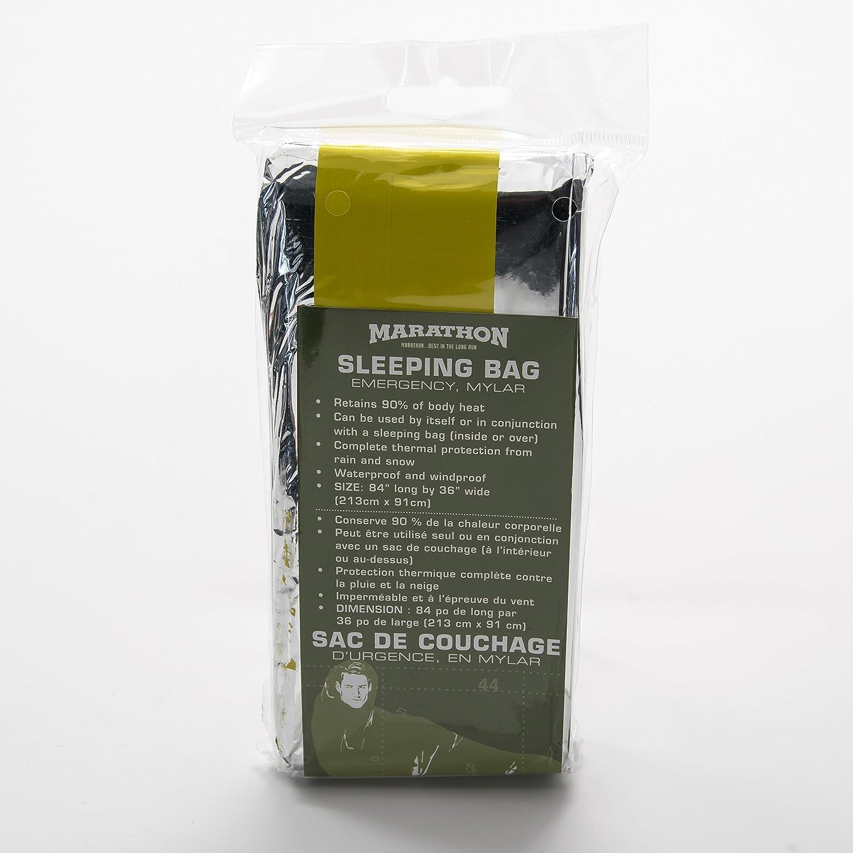 Marathon Emergency Mylar Space Sleeping Bag - 84 x 36 inches. Color-Silver. SKU-HW030037 Marathon Housewares
