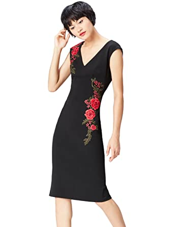 FIND Rose Embroidered Bodycon Jupe Femme, (Black), 36 (Taille Fabricant: X-Small)