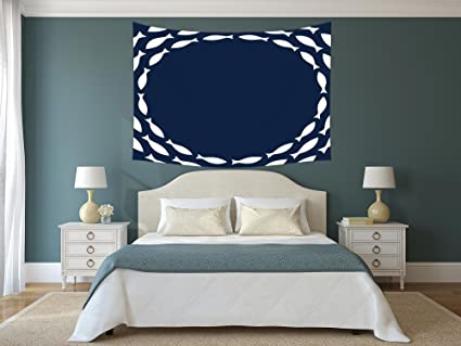 Amazon.com: Polyester Tapestry Wall Hanging,Navy Blue Decor ...