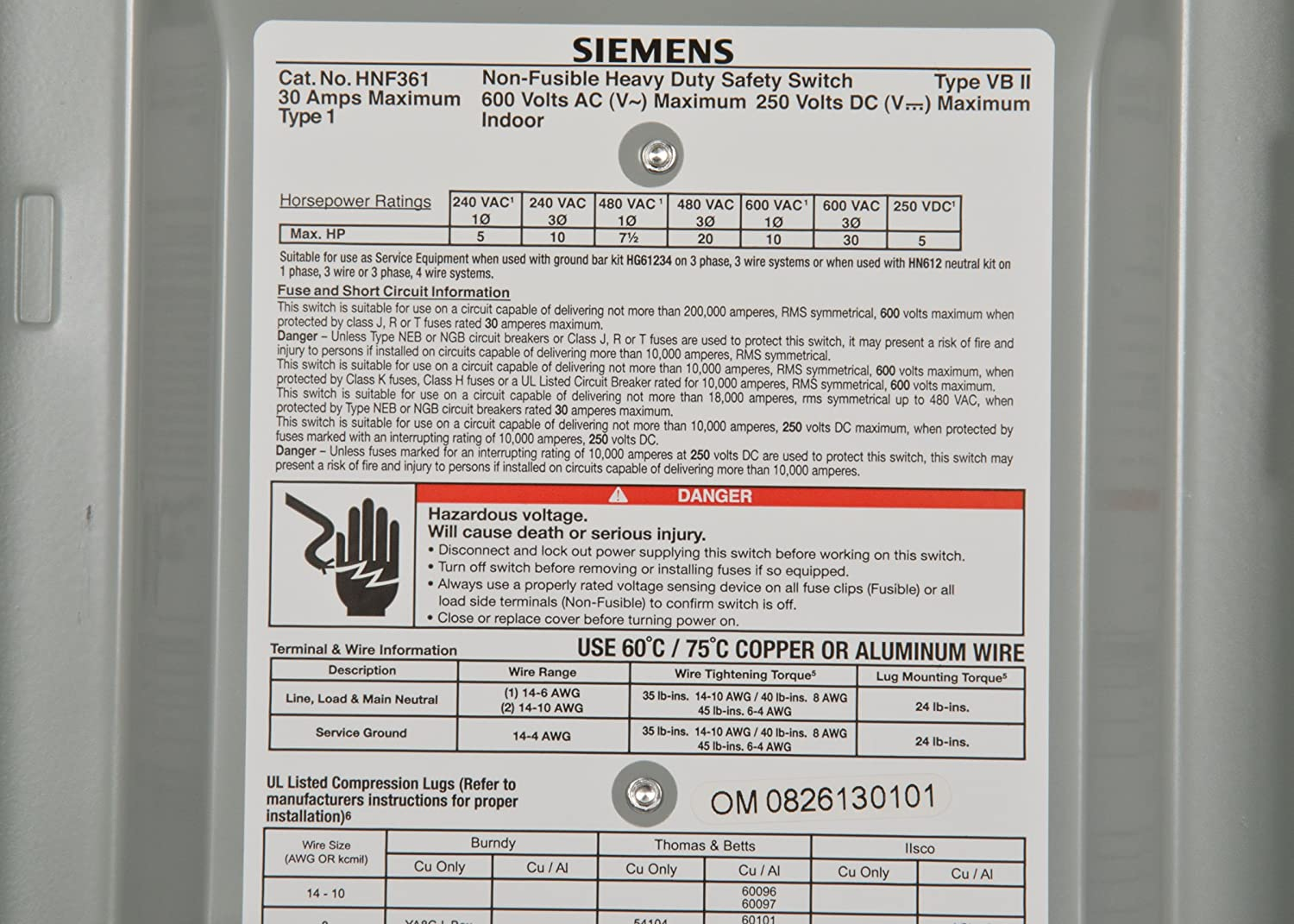 Siemens HNF361 30-Amp 3 Pole 600-volt 3 Wire Non-Fused Heavy Duty Safety Switches - -