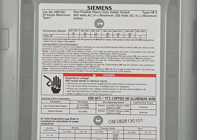 30 AMP 600 VOLT 3 PHASE Disconnect Siemens HNF361