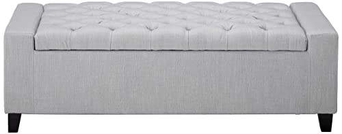 Christopher Knight Home Living Seattle Light Grey Fabric Storage Ottoman, 19.75 D x 50.00 W x 17.48 H