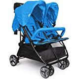 BIBA Stroller Double Carriage with 3-Phase Canopy Hood for Maximum Weather Coverage, Lightweight, Portable Traveling Carriage