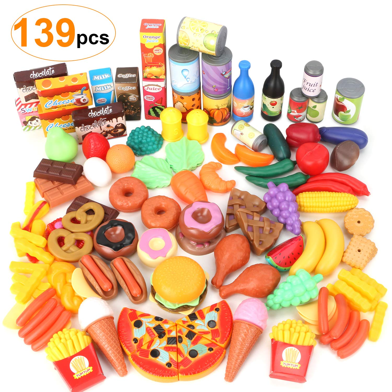 WOSTOO Play Food Set, 139 Pieces Play Kitchen Set for Kids, Pretend Food for Toddlers, Beautiful Toy Food Assortment, Party Favor Supplies, Holiday by WOSTOO