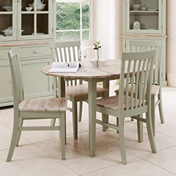 Florence Round Extending Table. Round Kitchen Table In Sage Green (92 117cm)