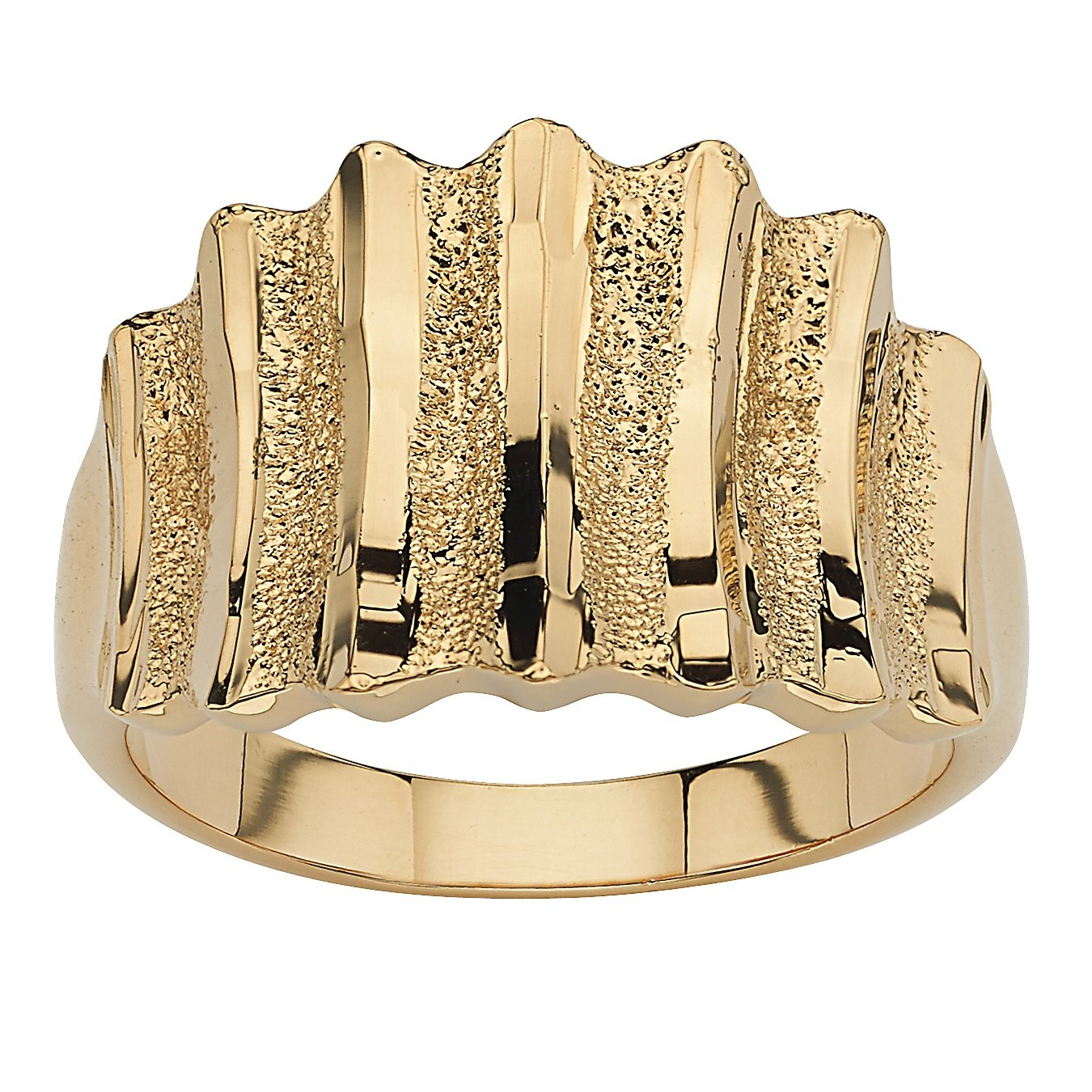 Palm Beach Jewelry 14k Yellow Gold-Plated Textured Concave Step-Top Ring Size 8