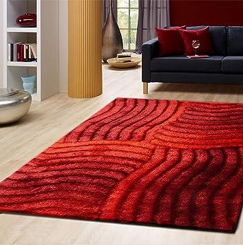 RUGADDICTION Hermosa Alfombra Color Rojo hecha a mano estilo moderno suave y lujosa , gruesa pila