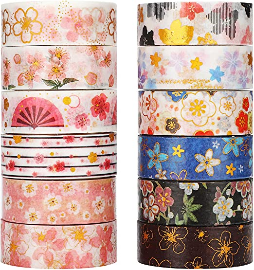 Upgrade Decorative Masking Paper for DIY Scrapbook Designs 40 Rolls 30mm 15mm 8mm 5mm Wide Colorful Craft Tape Cute Season Washi Tape Set Nature Flower Trees with 4 Size
