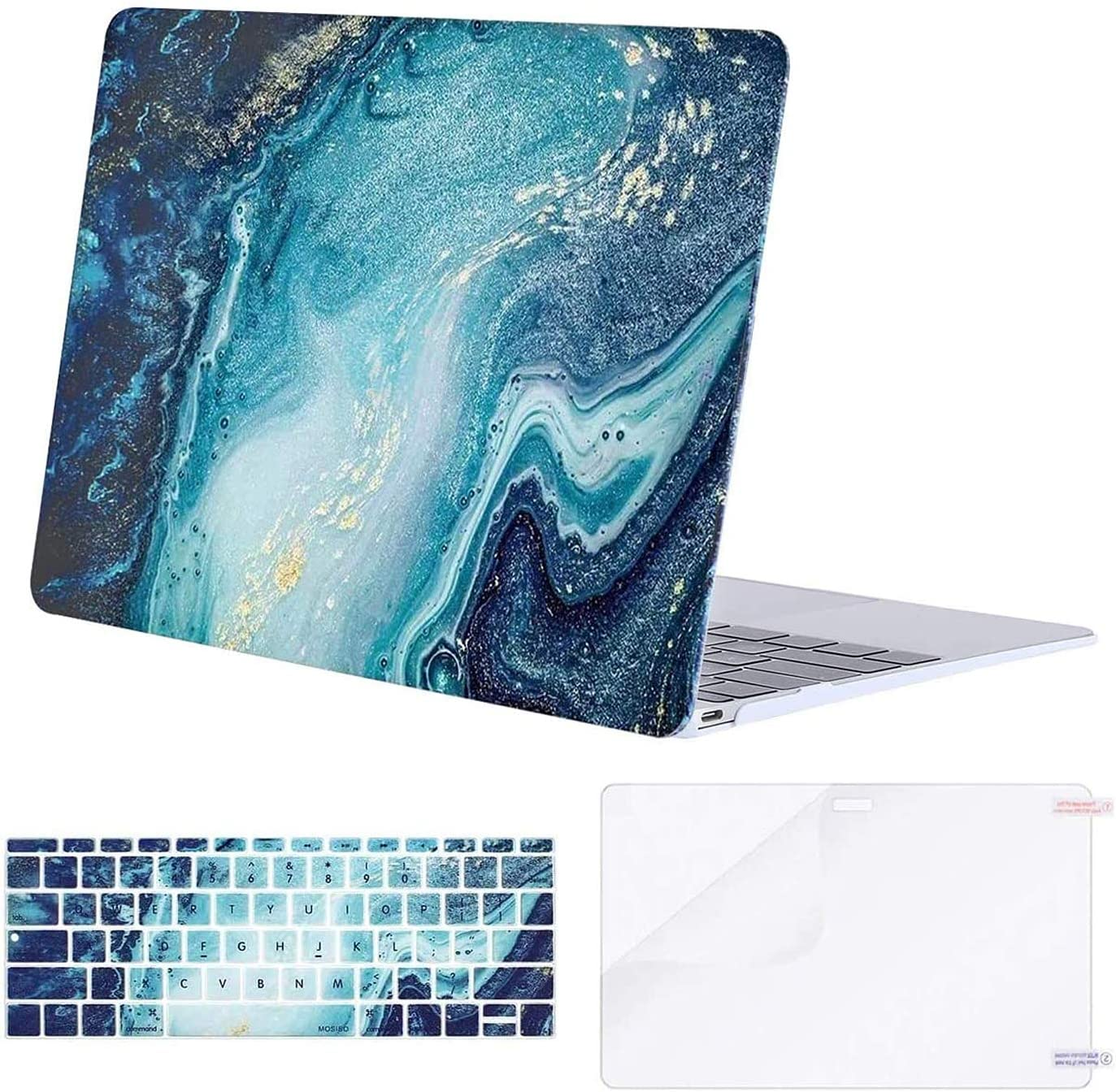 MOSISO MacBook 12 inch Case (Model A1534, Release 2017 2016 2015), Plastic Creative Wave Marble Hard Shell & Keyboard Cover & Screen Protector Compatible with MacBook 12 inch with Retina Display, Blue
